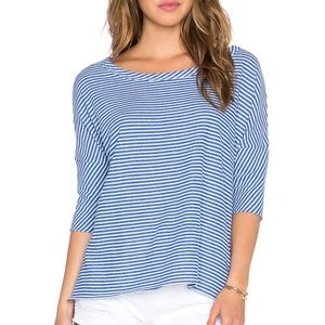 Chaser Sweaters - CHASER Blue & White Striped Boxy Pullover Sweater